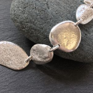 sterling silver pebble bracelet, handmade by Carol James of Silverfish Designs