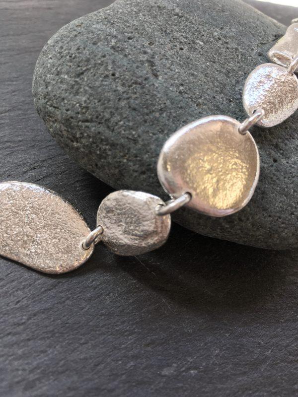 sterling silver pebble bracelet, handmade by Carol James of Silverfish Designs