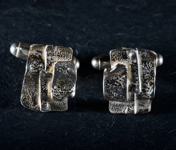 Silver patchwork cufflinks from Silverfish designs