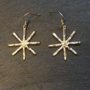 Medium silver snowflake drop earrings created by Carol James of Silverfish Designs