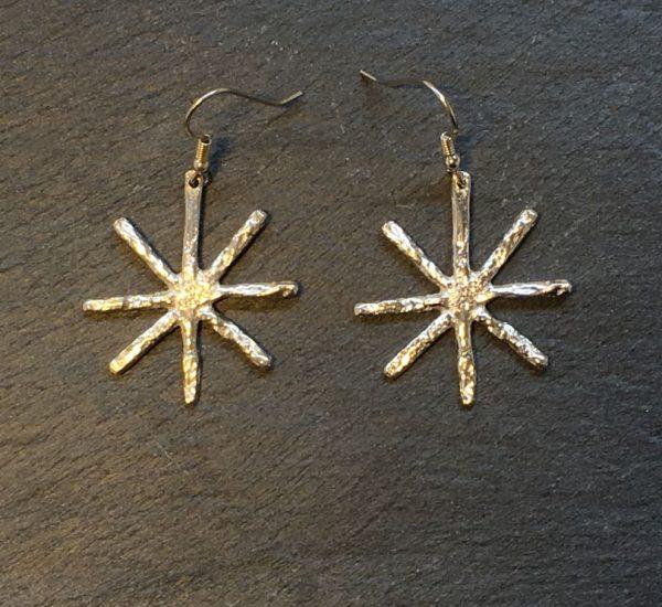 Medium silver snowflake drop earrings created by Carol James of Silverfish Designs