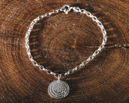 silver bracelet inspired by the Llanbedr spiral stone, created by Silverfish Designs