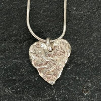 Large heart pendant, reticulated to give a lovely textural finish. Designed and handmade by Carol James of Silverfish Designs.