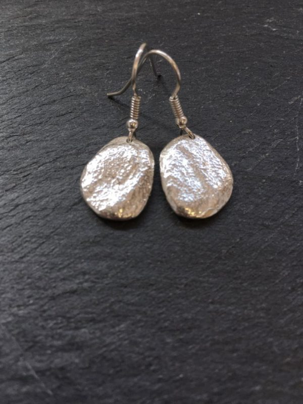 silver medium sized pebble drops cast from beach pebbles from Anglesey, designed and handmade by Carol James of Silverfish Designs