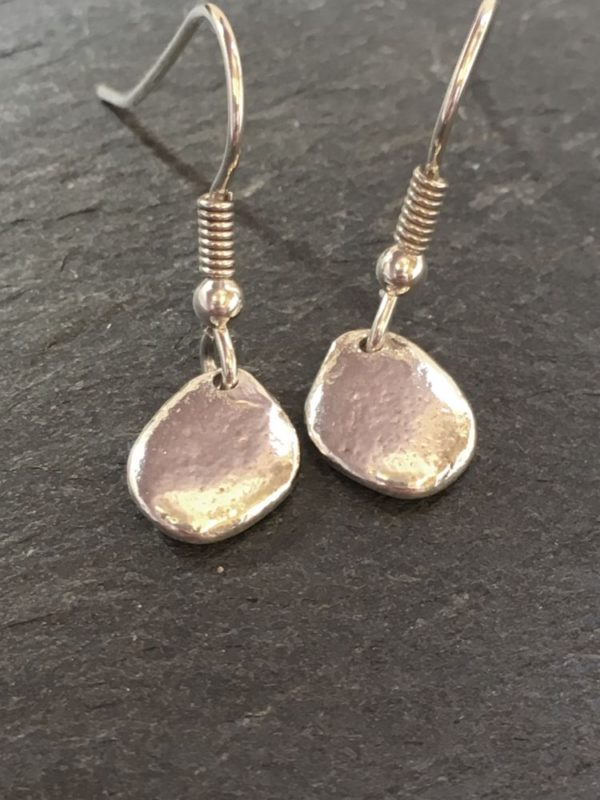 small silver pebble drop earrings handmade by Carol James of Silverfish Designs
