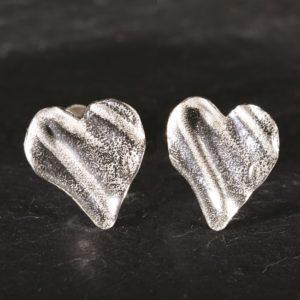Tiny ribbon heart studs, handmade by Silverfish Designs