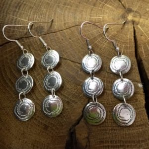 Barclodiad Triple Drop Earrings - from Silverfish Designs