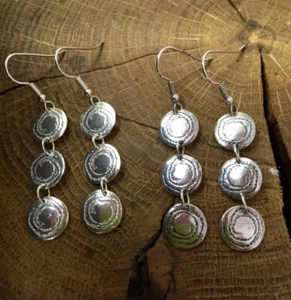 Barclodiad Triple Drop Earrings - from Silverfish Designs