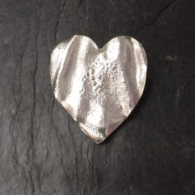 Large ribbon heart brooch handmade by Silverfish Designs